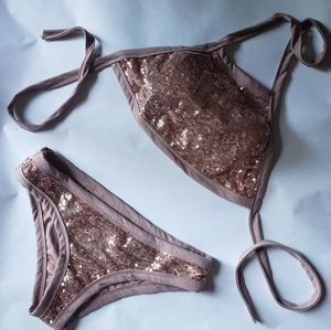 Other - Rose gold sequin bikini with halter top